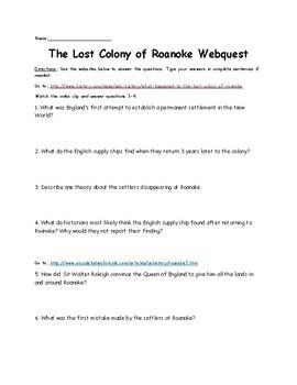 Roanoke Colony Webquest