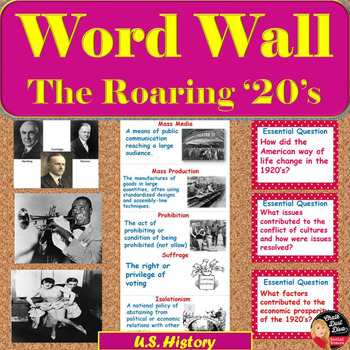 The Roaring 1920's Vocabulary WORD WALL Posters (U.S.History)