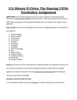 The Roaring 1920s Vocabulary Assignment