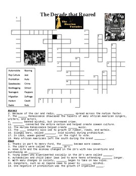 The Roaring 20's Crossword Puzzle or Web Quest