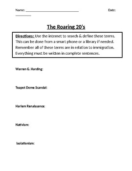 The Roaring 20's Homework Definitions