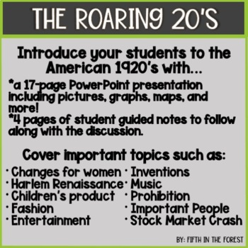 The Roaring 20's PowerPoint PLUS Student Guide
