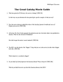 The Roaring 20's: The Great Gatsby Movie Guide