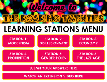 The Roaring 20s Learning Stations -- Pre-Reading Context for The Great Gatsby