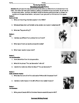 The Roaring 20's Stations Activity-Culture of the 20's