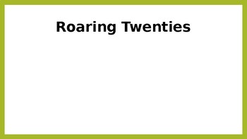 The Roaring 20s Vocabulary PPT
