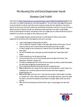 The Roaring 20s and Great Depression Vocabulary: Desmos Card Match