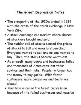 The Roaring 20's and the Great Depression