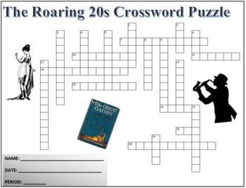 The Roaring Twenties (20s) Terminology Crossword Puzzle Activity Worksheet
