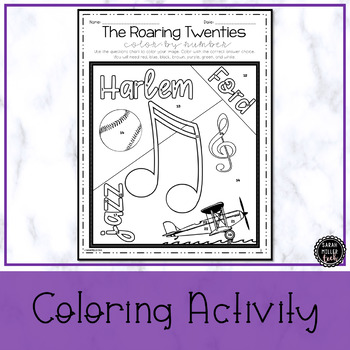 The Roaring Twenties Color by Number Activity (SS5H2b)
