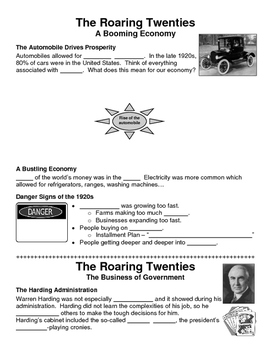 20 - The Roaring Twenties - Scaffold/Guided Notes (Blank a