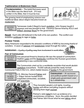 20 - The Roaring Twenties - Scaffold/Guided Notes (Filled-In Only)