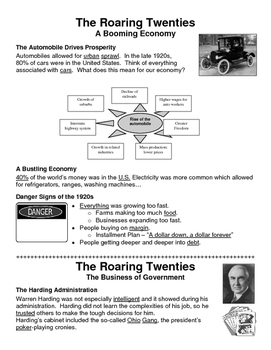 20 - The Roaring Twenties - Scaffold/Guided Notes (Filled-