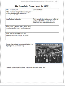 The Roaring Twenties Guided Notes Packet