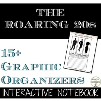 Roaring 20s Interactive Notebook Graphic Organizers on the 1920s