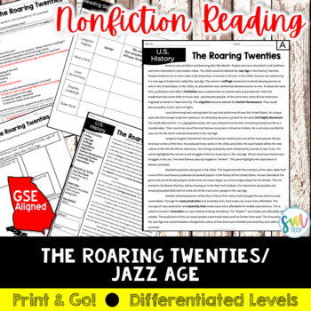 The Roaring Twenties Reading and Writing Activity (SS5H2)