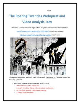 The Roaring Twenties- Webquest and Video Analysis with Key