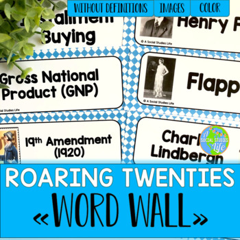 Roaring Twenties Word Wall without definitions