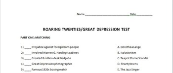 The Roaring Twenties and Great Depression Test