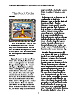 The Rock Cycle Article Reading Comprehension Worksheet
