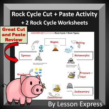 The Rock Cycle -- Cut and Paste Activity and Rock Cycle Review Worksheets