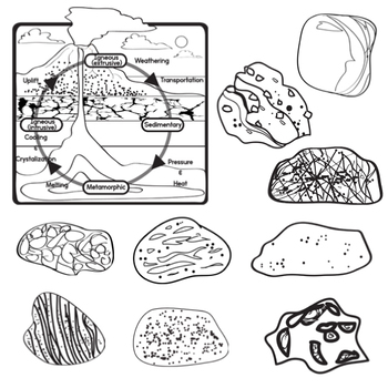 The Rock Cycle - Rock Clip Art - Sedimentary - Igneous - Metamorphic