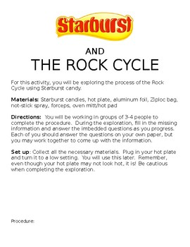 The Rock Cycle Starburst Lab by Natalie Walter | TpT