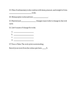 The Rock Cycle Study Jams Worksheet