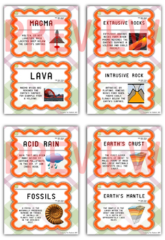 The Rock Cycle Vocabulary Cards / Word Wall