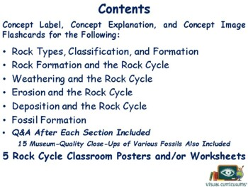 The Rock Cycle & Fossils Flashcards - task cards study guide exam prep 2017 2018