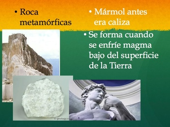 The Rock cycle and Three Types of Rocks Spanish Powerpoint SIOP style