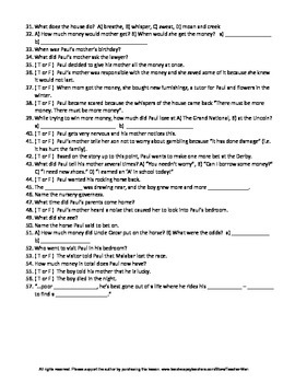 The Rocking Horse Winner by DH Lawrence Complete Guided Reading Worksheet