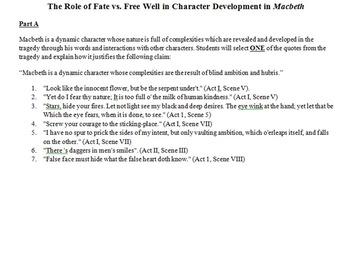 The Role of Fate vs. Free Will in Macbeth