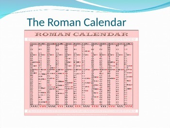 Roman Calendar.The Roman Calendar