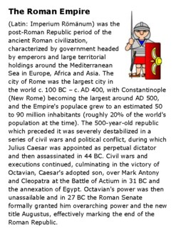 The Roman Empire Handout