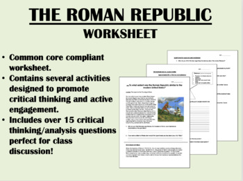 The Roman Republic worksheet - Global/World History Common Core