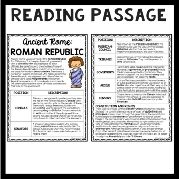 The Roman Republic  Reading Comprehension Worksheet; Roman Empire
