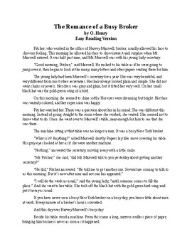 The Romance of a Busy Broker - Easy Reading Version O. Henry Short Story + Quiz