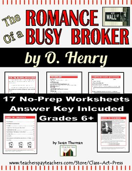 """O. Henry: """"The Romance of a Busy Broker"""" Study Guide Story (17 p., An. Key, $6)"""