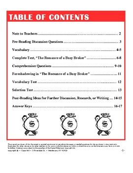 "O. Henry: ""The Romance of a Busy Broker"" Study Guide (17 p., An. Key, $6)"