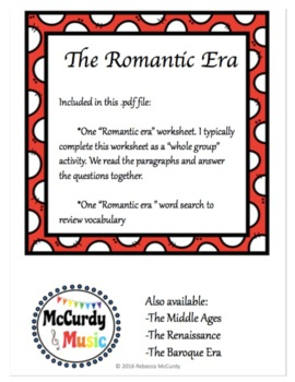 The Romantic Era: a lesson for Middle School General Music!