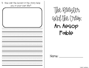 The Rooster and The Crow (An Aesop Fable): Comprehension Mini-Book Response