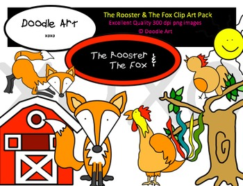 The Rooster and The Fox Clipart Pack