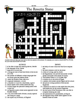 The Rosetta Stone - Five Printable Worksheets, Crossword, and Pictures