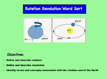 The Rotation and Revolution of the Earth Word Sort