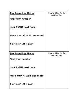 The Rounding Rhyme Handout