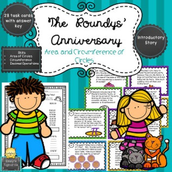 The Roundys' Anniversary- Area and Circumference  Task Cards (SOL 6.10b)