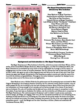 The Royal Tenenbaums Film (2001) Study Guide Movie Packet