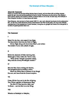 The Rubáiyát of Omar Khayyám AP Primary Sources Document w