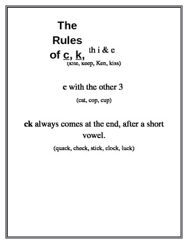 The Rules of C, K, and CK
